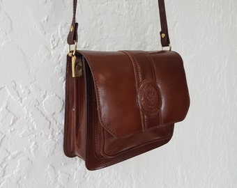 Leather bag • shoulder bag • Crossbody • 1970s • Vintage • Satchel