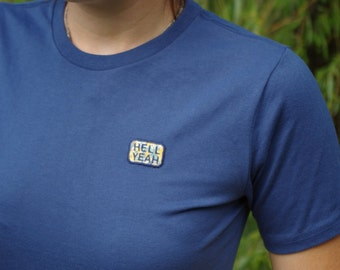 Hell Yeah Patch Embroidery Tshirt Blue