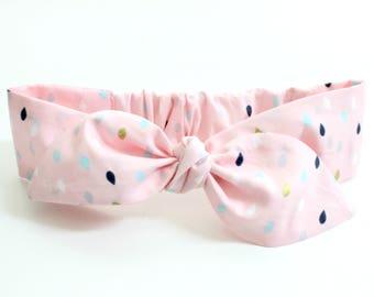 Pink gold raindrops baby headband, baby topknot, knotted headband, baby headband, baby headband raindrop, polka dot headband