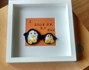 Penguin crochet framed wall art,  personalised, mother's day, valentines day, birthday, i look up to you