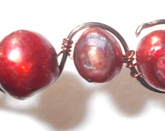 Red freshwater pearl pendant