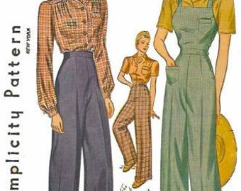 "Vintage 1940's Sewing Pattern Land Girl High Waist Slacks & Overalls WWII B 38"" Rosie The Riveter"