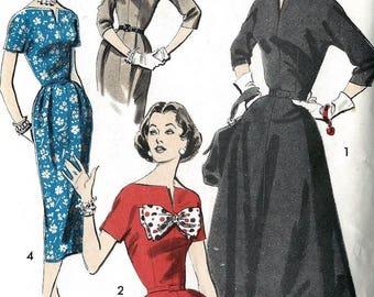 "Vintage 1950's Wiggle Sheath or Flared Dress, Fitted Bodice, Bow Trim Rockabilly  B 34"""