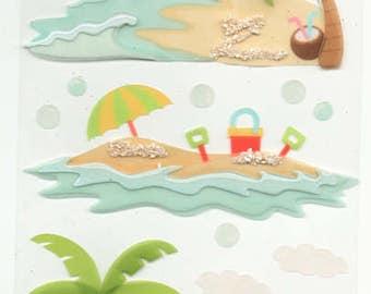 Beach Paradise Tropical Vellum Waves Sand Jolee's Boutique Scrapbook Stickers Embellishments Cardmaking Crafts