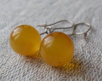 Vintage Genuine Antique Round Baltic Amber Honey Earrings Melchior