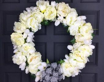 White Peony Wreath For Front Door - All Season Wreath - Summer Peony Wreath - Spring Wreath - Wedding Wreath Decor- Year Round Peony Wreath