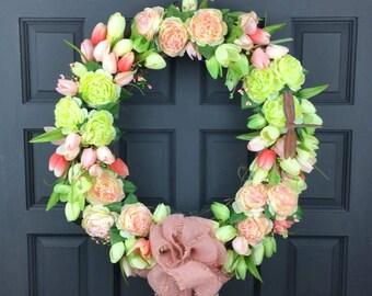 Pink Summer Front Door Wreath - Pink Spring Wreath - Pink Summer Wreath - ranunculus - burlap bow