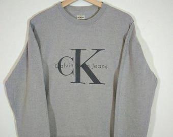 Vintage 90s Calvin Klein Jeans Crewneck Grey Sweatshirt Size M