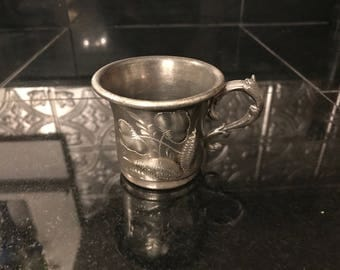 Unique Belmont Plate Company Triple Silver Plate Floral Etched Baby Cup