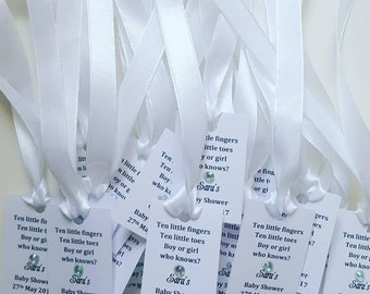 Baby shower personalised favour gift tags x 20.