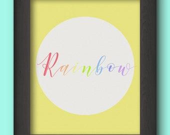 Rainbow Wall Decor, Digital Download, Minimalist Art, Rainbow Baby Gift, Printable Wall Decor, Rainbow Nursery Decor, Typography Prints