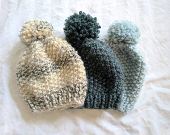 Chunky Knit Hat with Pom   Textured Knit Winter Hat   Knit Winter Hat   Knit Winter Hat with Pom   Chunky Knit Hat   Seed Stitch Knit Beanie