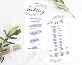 Navy and Blush Wedding Program Template Download Wedding Ceremony Program Printable Wedding Program Download Simple Wedding Program PDF DIY