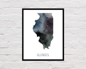 Illinois Map Print, Printable Illinois State Map, Illinois Art Print, Illinois Printable Wall Art, Watercolor Map, Illinois Poster, Download