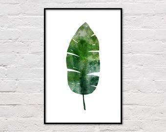 Banana Leaf Print, Tropical Print, Tropical Leaf Poster, Banana Leaf Poster, Tropical Poster, Large Wall Art, Modern Art, Digital Download