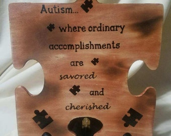 Autism Awareness Wooden Puzzle Piece w/ Easel, rustic home decor, Autism Gift, Autism Decor