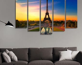 LARGE XL Eiffel Tower, Paris Canvas Print Paris,France, Europe Canvas a Big Pond at Sunset Canvas Wall Art Print Home Decoration - Stretched