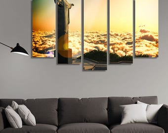 LARGE XL Statue of the Christ the Reedemer in Rio de Janeiro, Brazil Canvas Print Clouds Sunlight Wall Art Print Home Decoration - Stretched