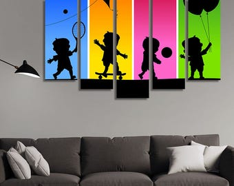 LARGE XL Silhouettes of Four Kids Playing Canvas Wall Art Print Home Decoration - Framed and Stretched - 2001