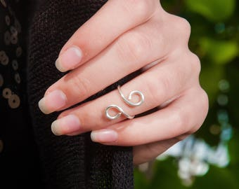 Midi ring. Adjustable ring. Boho. Hippie chic. Coachella look. Summer. Spring. Gift for her. Minimalist ring. Gold sterling silver