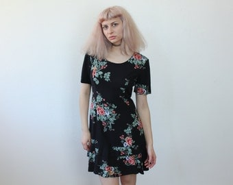 Floral Mini Dress // 90s Grunge Dress Black Ruffle Short Sleeve - Small