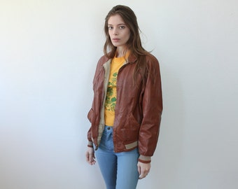 Retro 70s Jacket Reversible // Vintage Leather Bomber Coat 1970s Mens Womens - Small to Medium