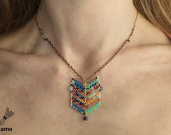 Necklace together original pendant woven beads Miyuki jewel creator • • • • all • color