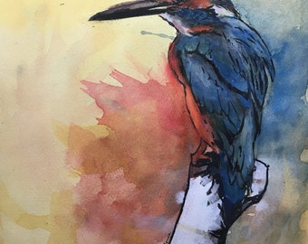 Free Bird, Original Ink and Watercolor Painting