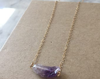 Amethyst Necklace - Raw Amethyst crystal - Purple gemstone Necklace - Gold filled - Sterling Silver - crystal jewelry - Gift for her