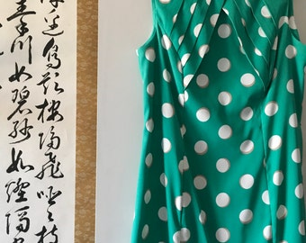 Vintage Dress - Women's Elegant Vintage 1940's Sleeveless Polka Dot Swing Dress  - Size 10-12 / Large