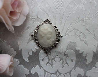 Silver Tone White Resin Cameo Brooch or Pin