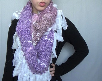Chunky mauve and lavender circle scarf || fair trade white chiffon waterfall fringe || bulky, soft, cozy, hand knitted
