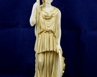 Goddess Athena statue ancient Greek Goddess of wisdom and strategy aged sculpture