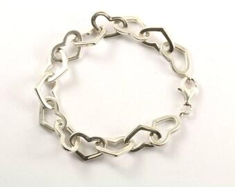 Vintage Heart Shape Link Bracelet 925 Sterling BR 1166-E
