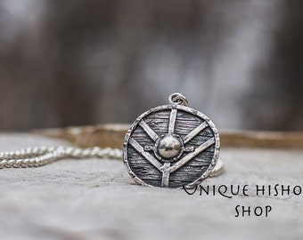 Lagertha's Shield Sterling Silver Pendant Unique Handmade Viking Jewelry