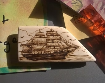 Scrimshaw Woodburning Fridge Magnet