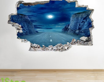 Moon Road Wall Sticker 3d Look - Boys Kids Bedroom Nightwall Decal Z255
