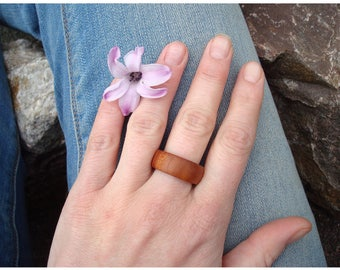 Nature Ring (7) Wooden Ring/Plum Wood/Simplicity/Handmade/Plum/Flow/Beeswaxed Ring/Natural Ring/Simple Ring/Tree Magic/Earth Jewelry/Gaia