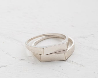 sterling silver ring, halved ring, rectangle ring, signet ring, playful ring, personal cameo, talisman ring