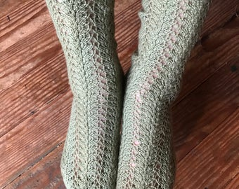 Asparagus Green Women's Socks with 7 1/2 inch Leg