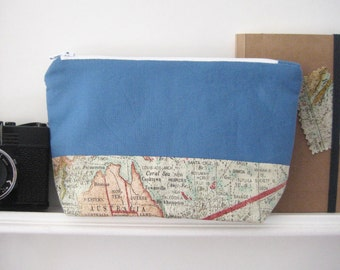 Pencil case pouch blue map with level ground