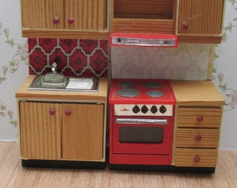 Vintage Lundby Manor Dolls House Kitchen Units, Sink and Oven
