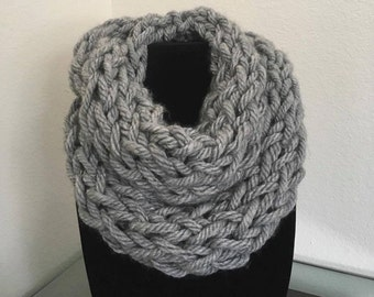 Thick Grey Scarf- Double Wrap Infinity Scarf- Soft Warm Scarf- Arm Knit Scarf- Chunky Wool Blend Infinity Scarf -