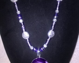 Exquisite Purple Agate Goddess Necklace!