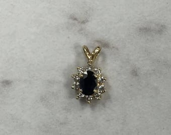 14kt Yellow Gold Lady's Diamond and Sapphire Pendant at a Incredible Price