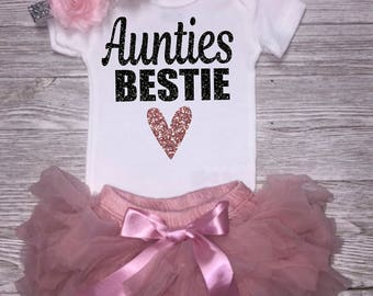 Auntie's Bestie | Baby Girl Outfit | Glitter Bodysuit | Baby Girl Clothing |  Baby Shower Gift | Auntie's Princess | Gift From Aunt