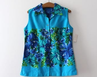 NOS vintage 1960s blouse // 60s blue Hawaiian top
