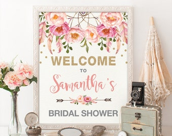 Floral Bridal Shower Welcome Sign. Pink Gold Bohemian Flowers. Boho Bridal Shower Decor. Pink Feathers Glitter Confetti. Dreamcatcher FLO12A