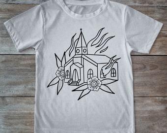 Burning church shirt, tattoo church, tattoo shirt, classic tattoo art, old school shirt, hipster gift, gift for tattoo lovers, church tee
