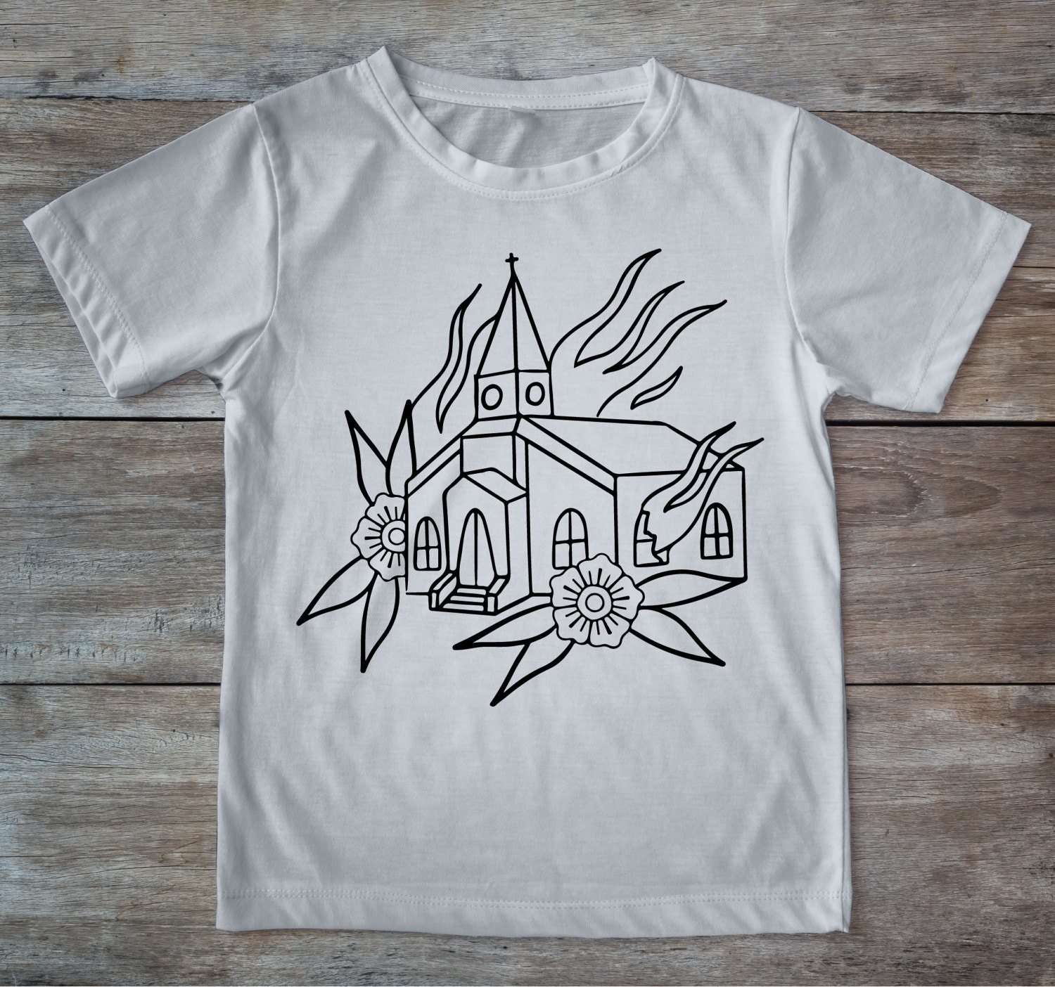 Burning church shirt, tattoo church, tattoo shirt, classic tattoo art, old school shirt, hipster gift, gift for tattoo lovers, church tee